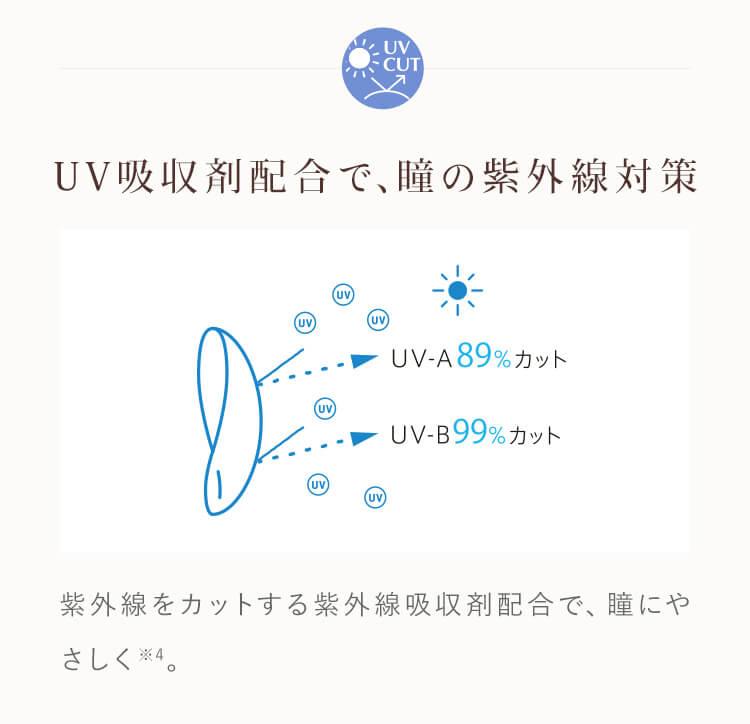 UV吸収剤配合で、瞳の紫外線対策